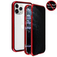 Magnetic Adsorption Aluminum Bumper Case with Privacy Tempered Glass Screen Protector for iPhone 11 Pro - Red