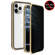 Magnetic Adsorption Aluminum Bumper Case with Privacy Tempered Glass Screen Protector for iPhone 11 Pro - Gold