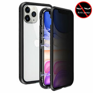Magnetic Adsorption Aluminum Bumper Case with Privacy Tempered Glass Screen Protector for iPhone 11 - Black