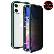 Magnetic Adsorption Aluminum Bumper Case with Privacy Tempered Glass Screen Protector for iPhone 11 - Midnight Green