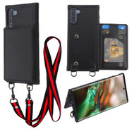 Suspend Wallet Case with Detachable Lanyard for Samsung Galaxy Note 10 - Black