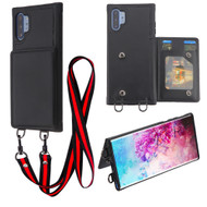 Suspend Wallet Case with Detachable Lanyard for Samsung Galaxy Note 10 Plus - Black