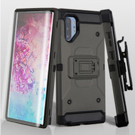 *Sale* 3-IN-1 Kinetic Hybrid Armor Case with Holster and Screen Protector for Samsung Galaxy Note 10 Plus - Dark Grey
