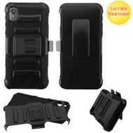 Advanced Armor Hybrid Case with Belt Clip Holster for Motorola Moto E6 - Black