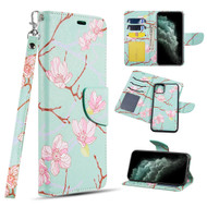 Trendy Series Leather Wallet with Detachable Magnetic Case for iPhone 11 - Blossom