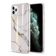 Vogue Collection Holographic Printing TPU Case for iPhone 11 Pro - Marble White