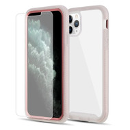 Tough Fusion-X 2-Piece Hybrid Case and Tempered Glass Screen Protector for iPhone 11 Pro Max - Rose Gold Frost Clear