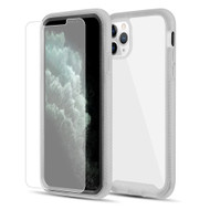 Tough Fusion-X 2-Piece Hybrid Armor Case and Tempered Glass Screen Protector for iPhone 11 Pro - Black Frost Clear
