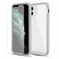 Tough Fusion-X 2-Piece Hybrid Armor Case and Tempered Glass Screen Protector for iPhone 11 - Black Frost Clear