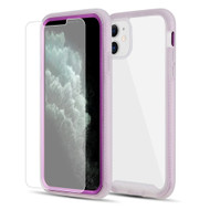 Tough Fusion-X 2-Piece Hybrid Armor Case and Tempered Glass Screen Protector for iPhone 11 - Purple Frost Clear