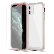Tough Fusion-X 2-Piece Hybrid Armor Case and Tempered Glass Screen Protector for iPhone 11 - Rose Gold Frost Clear