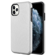 Carbon Fiber Hybrid Case for iPhone 11 Pro - Silver