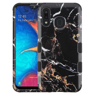 Military Grade Certified TUFF Hybrid Armor Case for Samsung Galaxy A20 - Marble Black