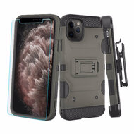 3-IN-1 Military Grade Certified Storm Tank Case + Holster + Tempered Glass Protector for iPhone 11 Pro Max - Dark Grey