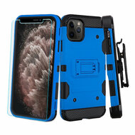 3-IN-1 Military Grade Certified Storm Tank Case + Holster + Tempered Glass Screen Protector for iPhone 11 Pro Max - Blue