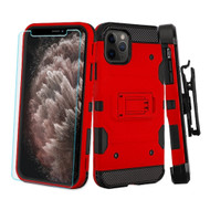 3-IN-1 Military Grade Certified Storm Tank Case + Holster + Tempered Glass Screen Protector for iPhone 11 Pro Max - Red