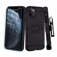 3-IN-1 Military Grade Certified Storm Tank Case + Holster + Tempered Glass Screen Protector for iPhone 11 Pro - Black