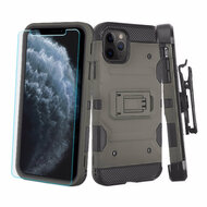 3-IN-1 Military Grade Certified Storm Tank Case + Holster + Tempered Glass Screen Protector for iPhone 11 Pro - Grey