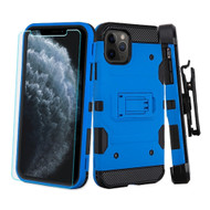 *Sale* 3-IN-1 Military Grade Certified Storm Tank Case + Holster + Tempered Glass Protector for iPhone 11 Pro - Blue