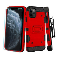 3-IN-1 Military Grade Certified Storm Tank Case + Holster + Tempered Glass Screen Protector for iPhone 11 Pro - Red