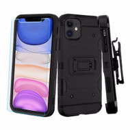 3-IN-1 Military Grade Certified Storm Tank Case + Holster + Tempered Glass Screen Protector for iPhone 11 - Black