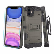 3-IN-1 Military Grade Certified Storm Tank Case + Holster + Tempered Glass Screen Protector for iPhone 11 - Dark Grey