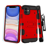 3-IN-1 Military Grade Certified Storm Tank Case + Holster + Tempered Glass Screen Protector for iPhone 11 - Red