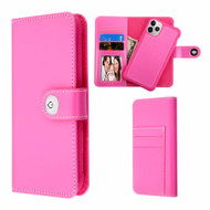 *Sale* 2-IN-1 Premium Leather Wallet with Removable Magnetic Case for iPhone 11 Pro - Hot Pink