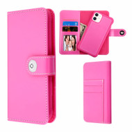 2-IN-1 Premium Leather Wallet with Removable Magnetic Case for iPhone 11 - Hot Pink