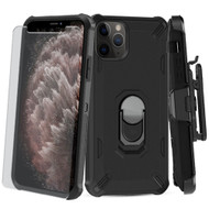 Military Grade Certified Brigade Hybrid Case + Holster + Tempered Glass Screen Protector for iPhone 11 Pro Max - Black