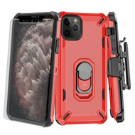 Military Grade Certified Brigade Hybrid Case + Holster + Tempered Glass Screen Protector for iPhone 11 Pro Max - Red