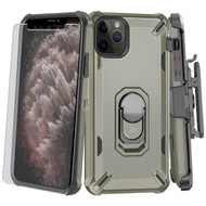 Military Grade Certified Brigade Hybrid Case + Holster + Tempered Glass Screen Protector for iPhone 11 Pro Max - Grey
