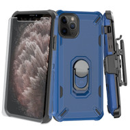 Military Grade Certified Brigade Hybrid Case + Holster + Tempered Glass Screen Protector for iPhone 11 Pro Max - Blue