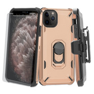 Military Grade Certified Brigade Case + Holster + Tempered Glass Screen Protector for iPhone 11 Pro Max - Rose Gold