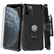 Military Grade Certified Brigade Hybrid Case + Holster + Tempered Glass Screen Protector for iPhone 11 Pro - Black