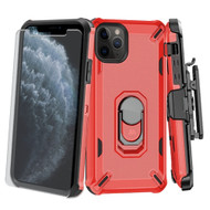 *Sale* Military Grade Certified Brigade Hybrid Case + Holster + Tempered Glass Screen Protector for iPhone 11 Pro - Red