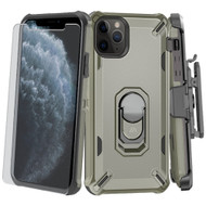 Military Grade Certified Brigade Hybrid Case + Holster + Tempered Glass Screen Protector for iPhone 11 Pro - Dark Grey