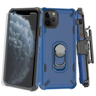 Military Grade Certified Brigade Hybrid Case + Holster + Tempered Glass Screen Protector for iPhone 11 Pro - Navy Blue