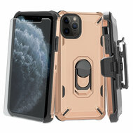 Military Grade Certified Brigade Hybrid Case + Holster + Tempered Glass Screen Protector for iPhone 11 Pro - Rose Gold