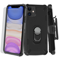 *Sale* 3-IN-1 Military Grade Certified Brigade Hybrid Case + Holster + Tempered Glass Screen Protector for iPhone 11 - Black