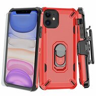 3-IN-1 Military Grade Certified Brigade Hybrid Case + Holster + Tempered Glass Screen Protector for iPhone 11 - Red