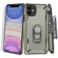3-IN-1 Military Grade Certified Brigade Hybrid Case + Holster + Tempered Glass Screen Protector for iPhone 11 - Grey