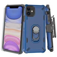 3-IN-1 Military Grade Certified Brigade Hybrid Case + Holster + Tempered Glass Screen Protector for iPhone 11 - Blue