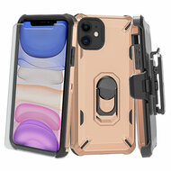 3-IN-1 Military Grade Certified Brigade Case + Holster + Tempered Glass Screen Protector for iPhone 11 - Rose Gold