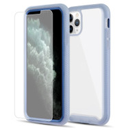 Tough Fusion-X 2-Piece Hybrid Armor Case and Tempered Glass Screen Protector for iPhone 11 Pro Max - Blue Frost Clear
