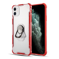ShieldTech Transparent Case with 360° Rotating Ring Holder for iPhone 11 - Red