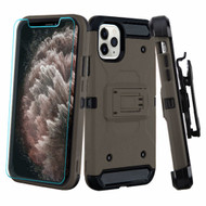 3-IN-1 Kinetic Hybrid Armor Case with Holster and Tempered Glass Screen Protector for iPhone 11 Pro Max - Dark Grey