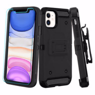 3-IN-1 Kinetic Hybrid Armor Case with Holster and Tempered Glass Screen Protector for iPhone 11 - Black