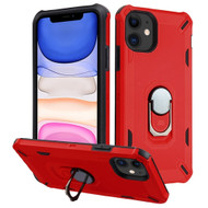Military Grade Certified Brigade Hybrid Armor Case with Metal Ring Finger Loop Stand for iPhone 11 - Red