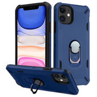 Military Grade Certified Brigade Hybrid Armor Case with Metal Ring Finger Loop Stand for iPhone 11 - Navy Blue